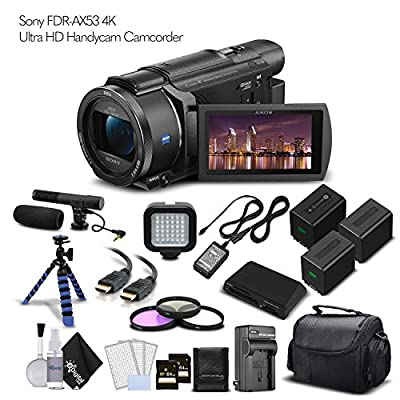 Sony FDR-AX53 4K Ultra HD Handycam Camcorder. 2 Extra Batteries + Case + 2 64GB Memory Cards + Tripod + Light and Microphone - Professional Bundle by eDigitalUSA