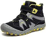 Mishansha Botas de Senderismo Niño Niña Zapatos de Trekking Antideslizante Ligero Zapatillas de Montaña Cómodos Exterior, Aceite Negro, 36 EU