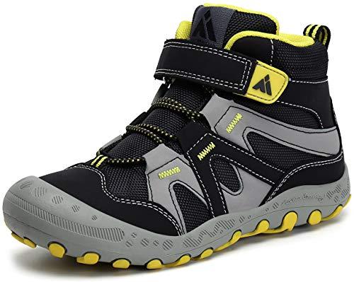 Mishansha Jungen Trekkingschuhe Mädchen Wanderstiefel Kinder Leicht Hoch Sneakers für Outdoor Sport Walking Hiking, Schwarz 1, 35 EU
