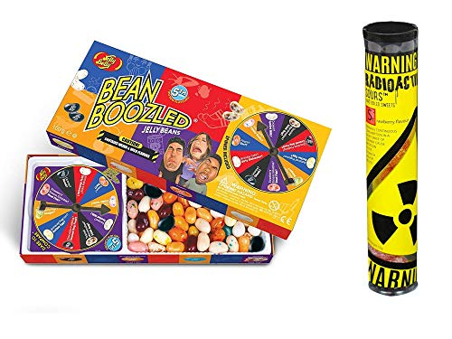 Jelly Belly - Bean Boozled Set Glücksrad (100g) plus Radioactive Sours - Mega-Extrem saure Bonbons Tube (52g) - Geschmacksrichtung Erdbeere