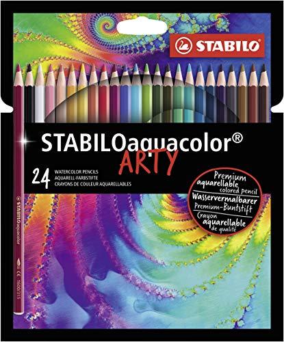 Lápices de color acuarelables Stabilo Aquacolor ARTY - Estuche con 24 colores