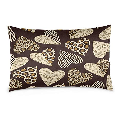 Leopard Tiger Skin Heart Pattern Throw Pillow Covers Halloween Cushion Covers Rectangle Pillow Shells Decorative Pillowcase Sofa Bed Home Office 14'x20'