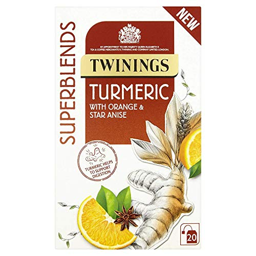 Twinings Super Blends Turmeric Tea Individually Wrapped Teabags 20's (2 Boxes - 40 Bags)