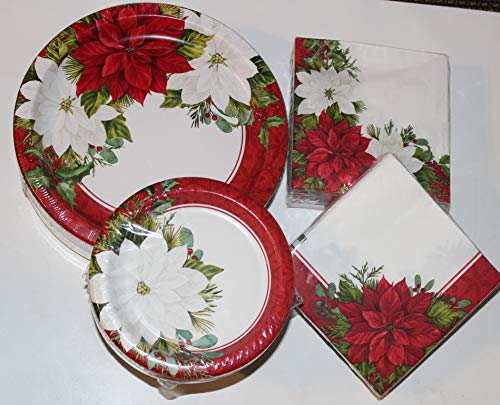 """Christmas Paper Plates - Dinner and Napkin Party Pack - Serves 55 - Includes 55 (10.25"""") Dinner Plates, 55 (6.75"""") Dessert Plates, 120 (13"""" X 13"""") Double-Sided Napkin Design (Scarlet Poinsettia)"""