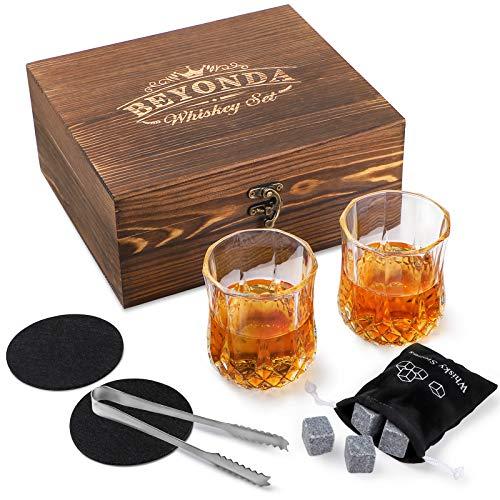 Whiskey Stones Gift Set - 2 Whiskey Glasses, 8 Granite Reusable Whiskey...