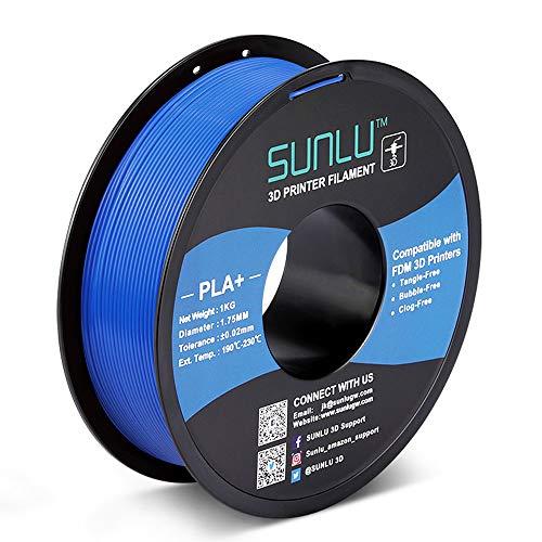 Sunlu PLA Plus Filamento per stampante 3D, 1,75 mm, filamento PLA Plus per stampanti 3D e penne, 1 kg (2,2 lbs)/Spool, Bluegrey