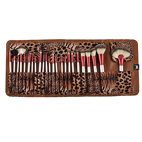 24 Pcs Maquillage Pinceau Set, Doux Aucun Résidu Nylon Motif Léopard Haute Kabuki Pinceau, Voyage Portable Pochette Sac Cadeau Donner