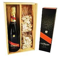 champagne mumm - cordon rouge in confezione da 2 * 150 grammi nougadets alla nocciola - jonquier deux frères - in scatola di legno
