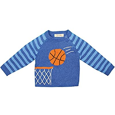 Zubels Baby Boys' Hand-Knit Cotton Basketball Sweater, All-Natural, Toddler 4T, Blue