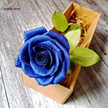 Blue Paper Rose in Gift Box, Unique Romantic Forever Gifts for Her, Best Ideas for Valentines, Wedding Anniversary, Birthday, Mothers Day, Teacher Day– Like Real Fresh Single Stem Roses Flower Blue