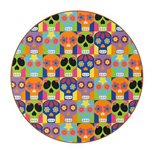 6 posavasos para bebida, diseño de calavera mexicana de microfibra redonda de cuero, antideslizante, para café, cerveza, vino, botella de cristal de vino, hogar y bar, día de los muertos