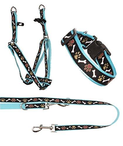 Ein Set - Halsband, Hundegeschirr Step-In, Hundeleine - verstellbar, Zugentlastung, stabil, bequem, weich, Farbe Blau - TX-ZOO/Zb-BLUE
