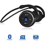 Bluetooth Kopfhörer Wireless Headset, FM Radio TF-Karte (32G) Sport Kopfhörer on/over Earphones mit Mikrofon Ohrhörer