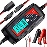Car Battery Charger 12V-6Amp Automatic Smart Battery Charger Suitable for Lead-Acid and Lithium Phosphate Batteries, Multifunctional Charger with DC Adapter and Battery Test & LCD Monitor-EPA1205L