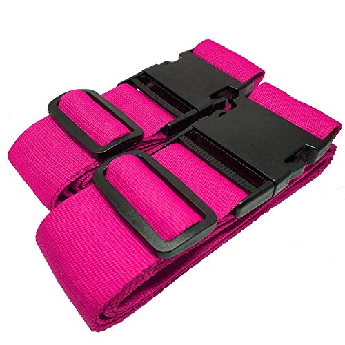 MONVENDO - Koffergurt | Kofferband | Gepäckband - Kofferstyle 200 cm 2-teilig Pink Rosa