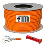 HB Digital Netzwerkkabel LAN Verlegekabel Cabel 100m cat 7 Kupfer + Abisolierer (groß) S/FTP PIMF LSZH Halogenfrei orange RoHS-Compliant cat. 7 Cat7 AWG 23/1