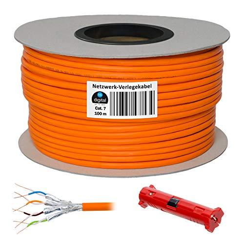 HB-Digital 100m Netzwerkkabel LAN Verlegekabel Cabel cat 7 Kupfer + Abisolierer (groß) S/FTP PIMF LSZH Halogenfrei orange RoHS-Compliant cat. 7 Cat7 AWG 23/1