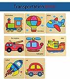APig 8 Piezas de 3D Puzzles de Madera para niños de 1-5 años(Vehículos)