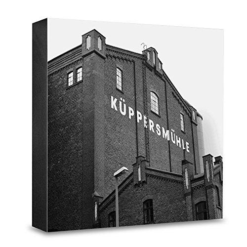 COGNOSCO HG-E106 foto-houten blok medium-15 x 15 cm muurschildering met architectuur-fotografie Essen/Ruhrstrestreek-molen, hout, zwart-wit, 15x15cm