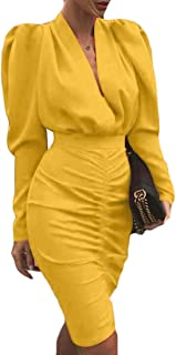 Womens Sexy Deep V-Neck Long Sleeve Ruched Bodycon Cocktail Party Mini Dress
