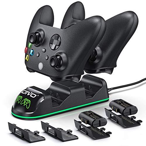 OIVO Chargeur avec 2 Rechargeable Batterie pour Xbox One/Xbox Series X/S Manette, Station de Chargement avec 2 x 1300 mAh Batteries Rechargeables (Xbox Series X & S/Xbox One)