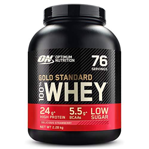 Optimum Nutrition ON Gold Standard Whey Protein Pulver, Eiweißpulver Muskelaufbau mit Glutamin und Aminosäuren, natürlich enthaltene BCAA, Strawberry, 76 Portionen, 2,28kg