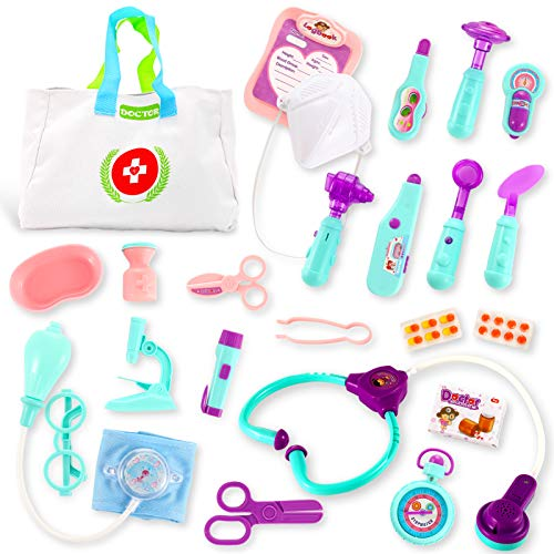 SMALL FISH Doctor Kit for Kids and Toddlers, Pretend Play Medical Kit Toy Set for Boys and Girls with Stethoscope, Thermometer, Bag, and More, Montesorri Playset for Little Doctors, Vet, and Nurse