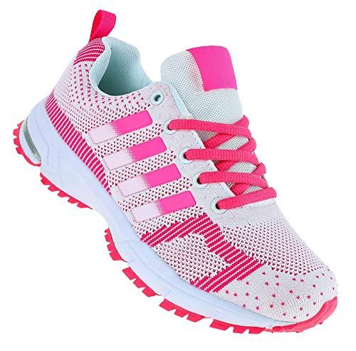 Roadstar Neon Turnschuhe Sneaker Sportschuhe Herren Boots 090, Schuhgröße:37, Farbe:Pink