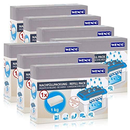 7x Wenko Nachfüllpackung Feuchtigkeitskiller Raum-Entfeuchter, 1kg Granulat