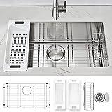 ZUHNE Modena Undermount Kitchen Sink Set, 16-Gauge Stainless Steel (30-Inch Single Bowl)