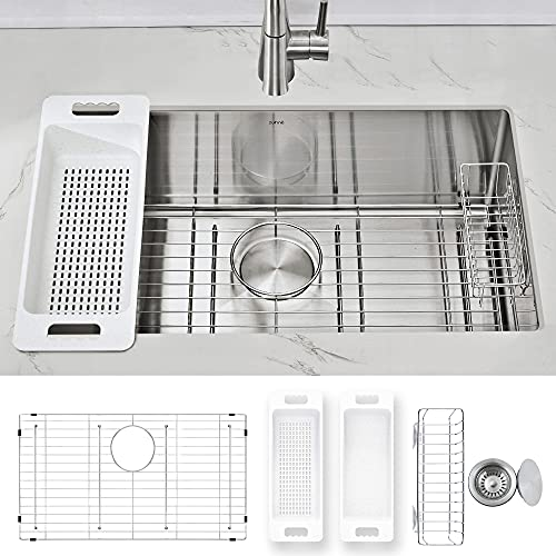 """ZUHNE Modena 30-Inch Stainless Steel Undermount Kitchen Sink with Accessories, 16 Gauge (Tight Radius Deep Single Bowl for 33"""" Cabinet)"""
