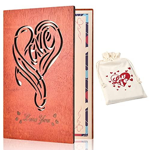 Giiffu Tarjeta de felicitación de madera grabada hecha a mano, con caja de regalo única, Día de San Valentín, Día de la Madre, cumpleaños, boda, compromiso, aniversario, Año Nuevo (estilo C)