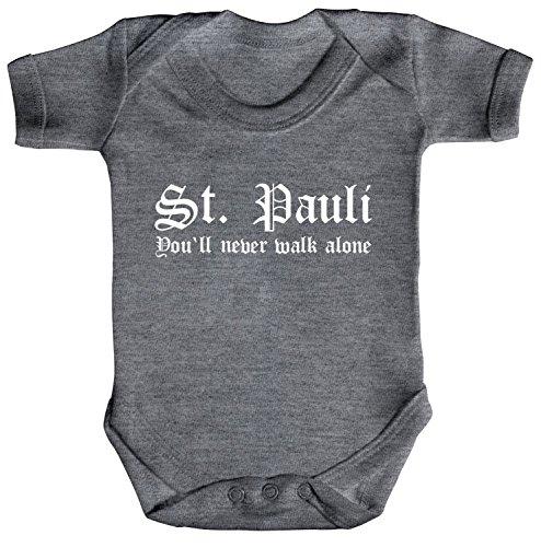 ShirtStreet Fußball Fussball Strampler Bio Baumwoll Baby Body kurzarm Jungen Mädchen ST.PAULI, Größe: 3-6 Monate,Heather Grey Melange