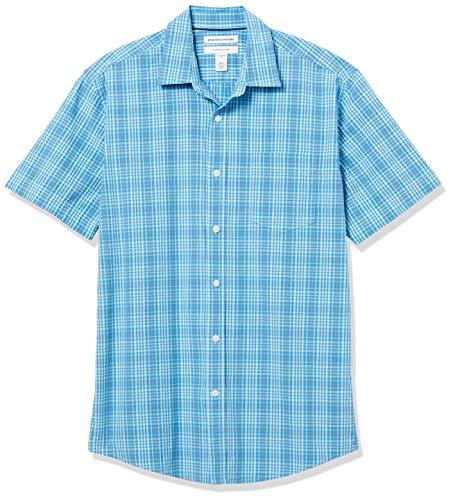 Amazon Essentials Regular-Fit Short-Sleeve Shirt Hemd, Blau/Orange Plaid, L