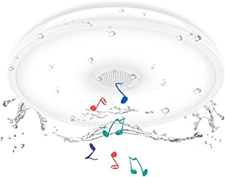 LED Plafonnier salle de bain avec Haut Parleur Bluetooth, Horevo 18W Étanche IP65 Luminaire Plafond Salle d'eau Rond Moder...