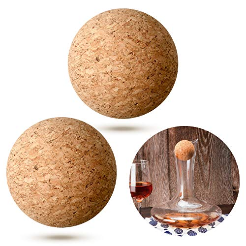 2 Pieces Wine Cork Ball Wooden Cork Ball Stopper for Wine Decanter Carafe Bottle Replacement, 2.4 Inch/ 6.1 cm