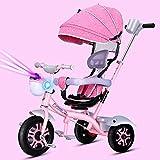 Aocean Niños Triciclo De Rueda Bicicleta Triciclo Capota extraíble y Plegable Incluye Barra telescópica para los Padres Certificado Capacidad de Carga 30KG, Pink