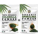 Earth Circle Organics | Organic Spirulina & Chlorella Powder, Kosher, Non-Irradiated | Pure Vegan Protein | Premium Superfood, High in Amino Acids and Antioxidants (Spirulina & Chlorella Combo)