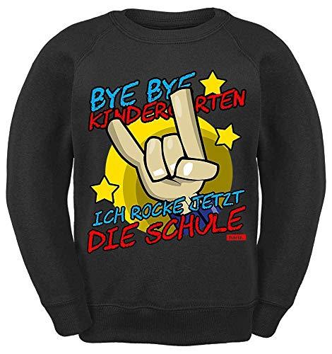 HARIZ Kinder Sweater Bye Bye Kindergarten Ich Rock Jetzt Die Schule 2 Einschulung Inkl. Geschenk Karte Schwarz 140/9-11 Jahre