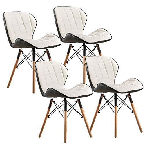 ZCXBHD Conjunto Blanco 4 sillas Comedor Patas Madera nórdicas Respaldo Mariposa Cuero PU Asiento Acolchado cómodo Silla Cocina for Oficina hogar Silla Moderna (Color : B)