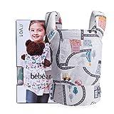 Bebamour Porte-bébé pour filles, écharpe porte-bébé 3 en 1 pour enfants, 100% coton, Blanc avec trafic