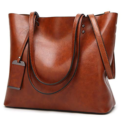 Tote Handtasche für Frauen Veganes Leder Umhängetasche Hobo Bag Satchel Geldbörse für Mädchen Schule Arbeit & Shopping (Braunes PU Leder - 32cm)