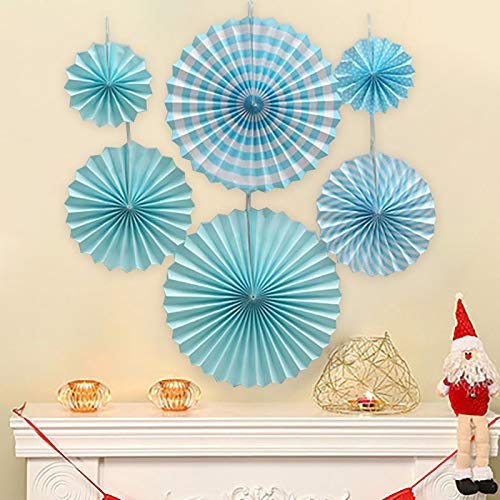 Tissue Paper Fans Party Wedding Birthday Hanging Paper Fan Decorations Sky Blue