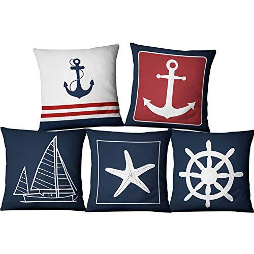 Granty Azul Ancla Marinero náutica cojín Cubierta, Estilo Marino Lino Almohada Caso hogar Tela sofá Mediterráneo Funda de cojín 45 * 45CM, Juego de 5