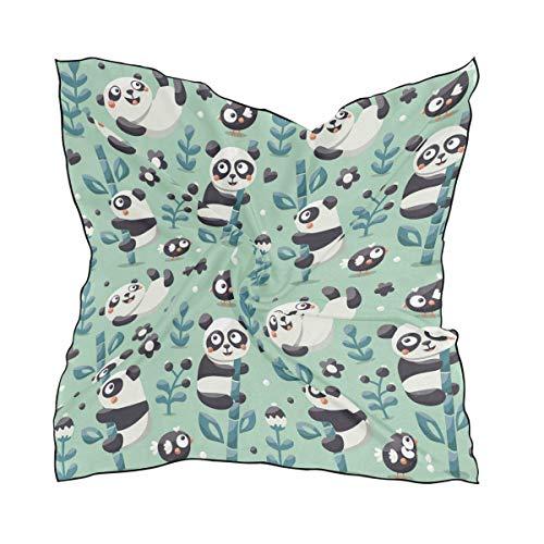 Netter Muster-Bambus-Cartoon für Frauen-Damen-60 × 60 cm-Quadrat-Schal-Kopftuch-Kopf wickelt leichte Druck-Leiter ein
