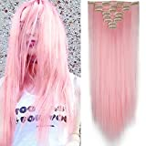 26' Extension a Clip 8 Bandes - Extensions Cheveux Clips Lisse - Clip in Hair Extensions - 66cm(26 pouces) - Rose Clair