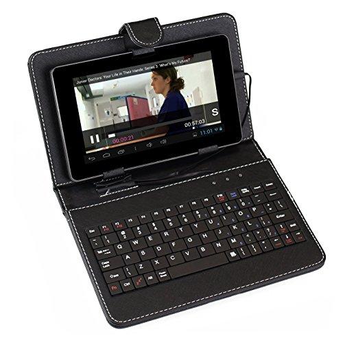 """tastiera per tablet 7 pollici SUMVISION NERO UNIVERSALE TASTIERA CUSTODIA PELLE PER 7"""" TABLET PC CON MICRO USB CONNESSIONE"""