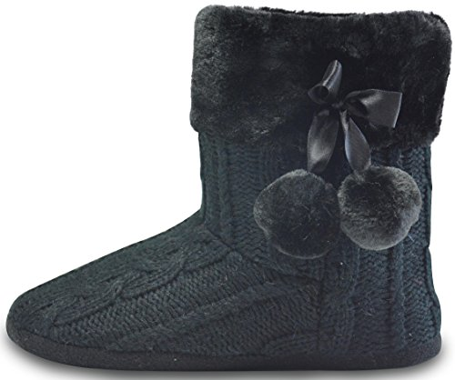 AIREE FAIREE Zapatillas de Casa para Mujer Pantuflas Mujer Invierno Casa con Bordes del Tejido de Punto y Pompons (EU 40/41, Negro)