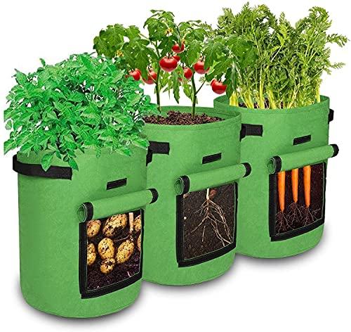 ASWT Bolsas de Cultivo de Papa, 3 Paquetes de 5/7/10 galones, contenedores de plantación, Bolsa de Cultivo de jardín con Ventana, Tomate de plantación Transpirable, Bolsas de Cultivo,5 gallons