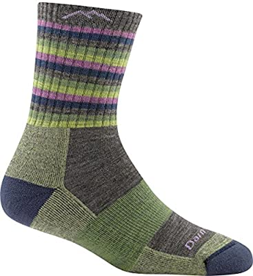 Darn Tough (Style 1904 Women's Stripes Hike/Trek Sock - Lime Stripe, Medium